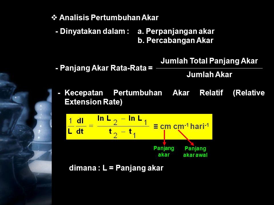 -Laju Relative Perkembangan Akar (Relative Multiplication Rate ≡ RMR) dimana : Jl = jumlah akar = Jl.