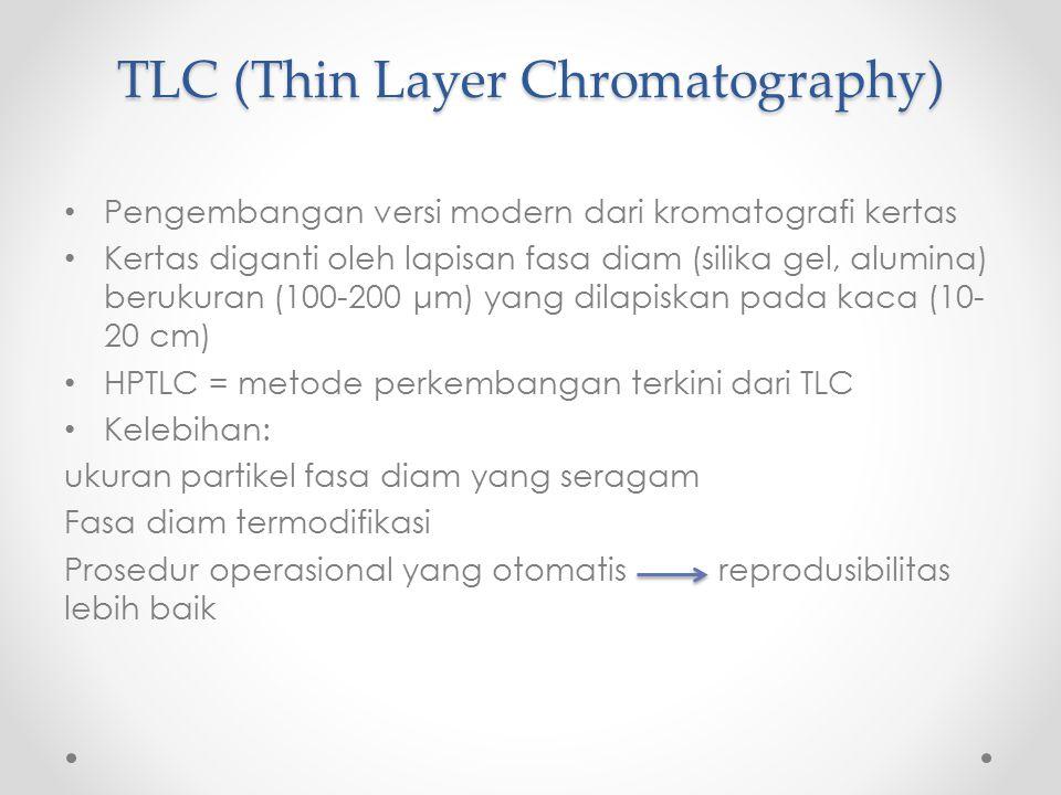 Thin Layer chromatography (TLC) Proses Deteksi Analit (Komponen Sampel) Analit Berwarna Prosedur Derivatisasi Densitometri dengan scanner sinar UV UV light beam Reflected beam Detector Pseudo-chromatogram