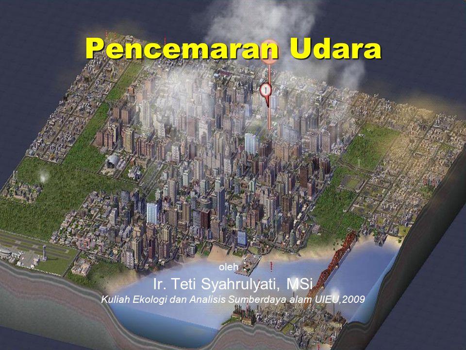 Pencemaran Udara oleh : Ir. Teti Syahrulyati, MSi Kuliah Ekologi dan Analisis Sumberdaya alam UIEU,2009