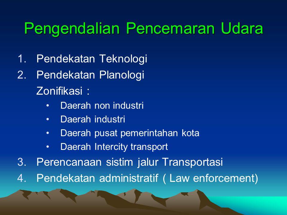 Pengendalian Pencemaran Udara 1.Pendekatan Teknologi 2.Pendekatan Planologi Zonifikasi : Daerah non industri Daerah industri Daerah pusat pemerintahan