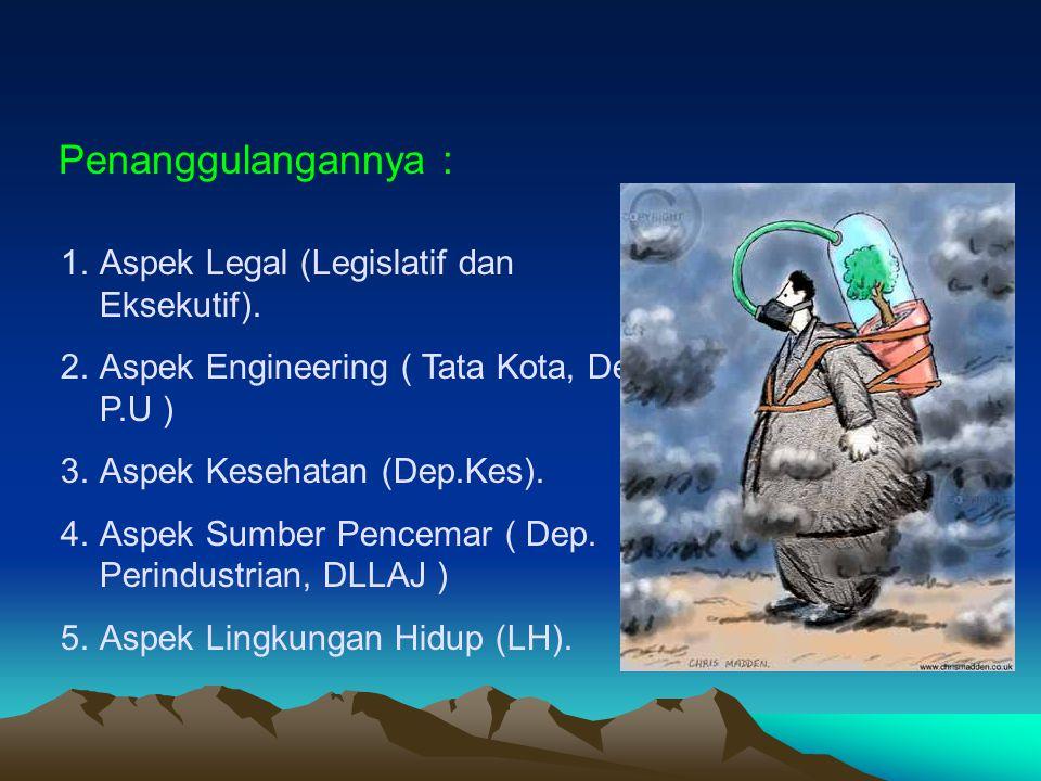 1.Aspek Legal (Legislatif dan Eksekutif). 2.Aspek Engineering ( Tata Kota, Dep P.U ) 3.Aspek Kesehatan (Dep.Kes). 4.Aspek Sumber Pencemar ( Dep. Perin