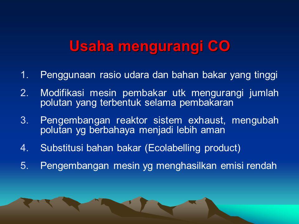 Usaha mengurangi CO 1.Penggunaan rasio udara dan bahan bakar yang tinggi 2.Modifikasi mesin pembakar utk mengurangi jumlah polutan yang terbentuk sela
