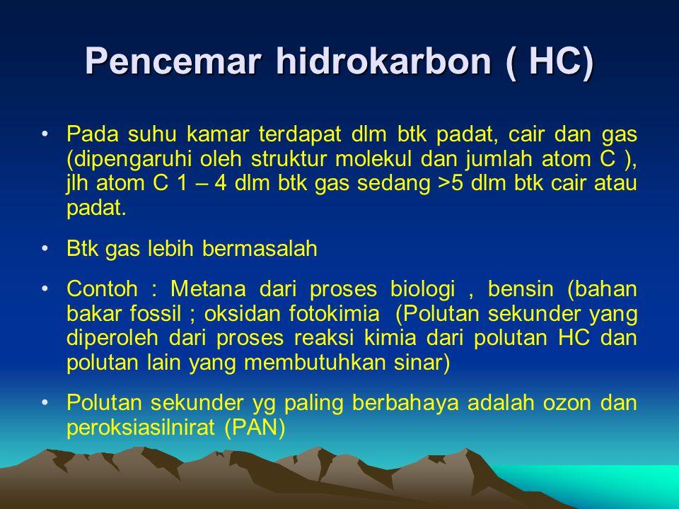 Pencemar hidrokarbon ( HC) Pada suhu kamar terdapat dlm btk padat, cair dan gas (dipengaruhi oleh struktur molekul dan jumlah atom C ), jlh atom C 1 –