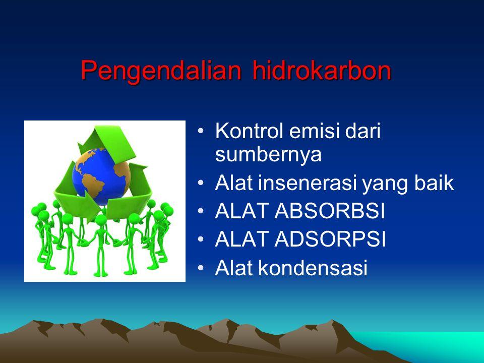Pengendalian hidrokarbon Kontrol emisi dari sumbernya Alat insenerasi yang baik ALAT ABSORBSI ALAT ADSORPSI Alat kondensasi