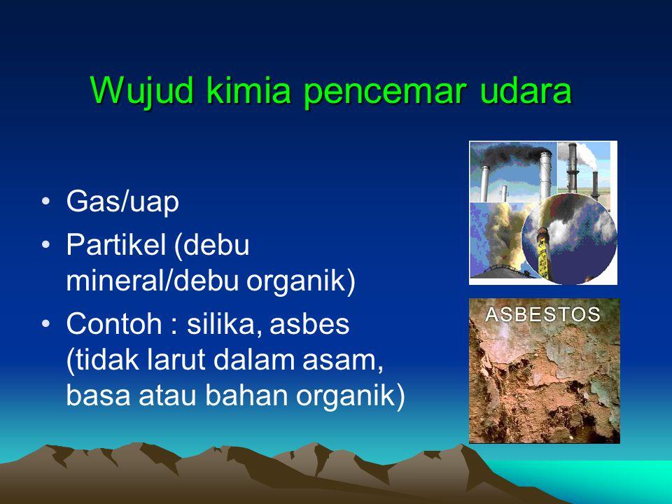 Wujud kimia pencemar udara Gas/uap Partikel (debu mineral/debu organik) Contoh : silika, asbes (tidak larut dalam asam, basa atau bahan organik)
