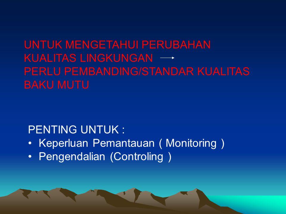 UNTUK MENGETAHUI PERUBAHAN KUALITAS LINGKUNGAN PERLU PEMBANDING/STANDAR KUALITAS BAKU MUTU PENTING UNTUK : Keperluan Pemantauan ( Monitoring ) Pengend