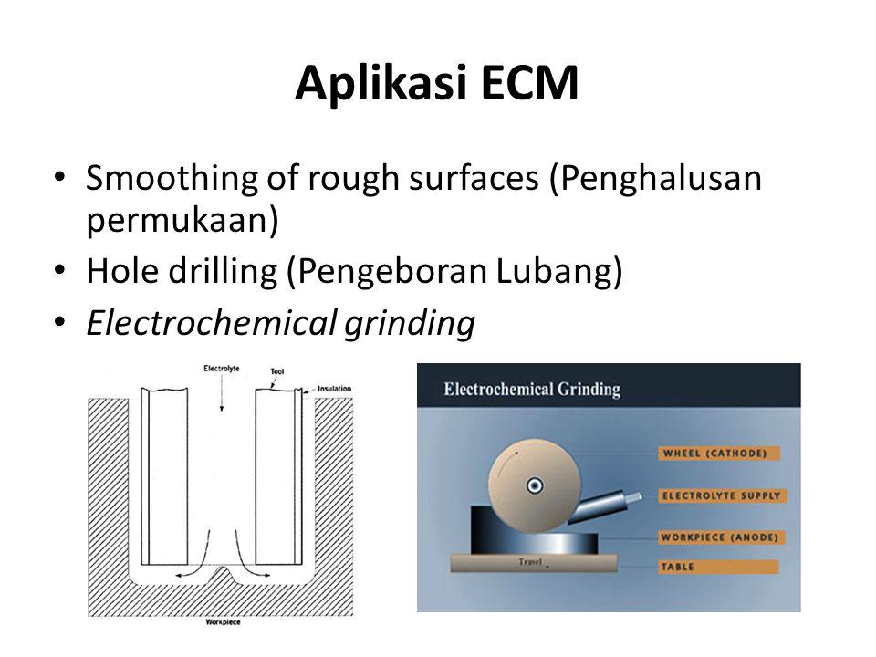 Aplikasi ECM Smoothing of rough surfaces (Penghalusan permukaan) Hole drilling (Pengeboran Lubang) Electrochemical grinding