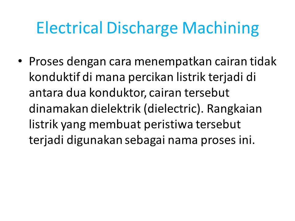 Electrical Discharge Machining Proses dengan cara menempatkan cairan tidak konduktif di mana percikan listrik terjadi di antara dua konduktor, cairan