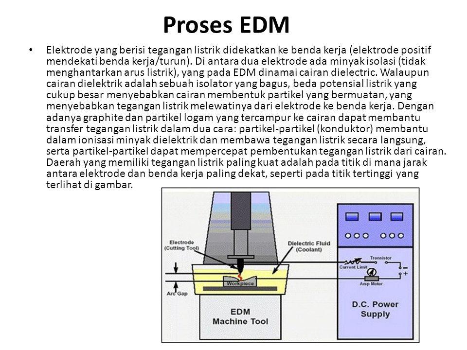 Proses EDM Elektrode yang berisi tegangan listrik didekatkan ke benda kerja (elektrode positif mendekati benda kerja/turun). Di antara dua elektrode a