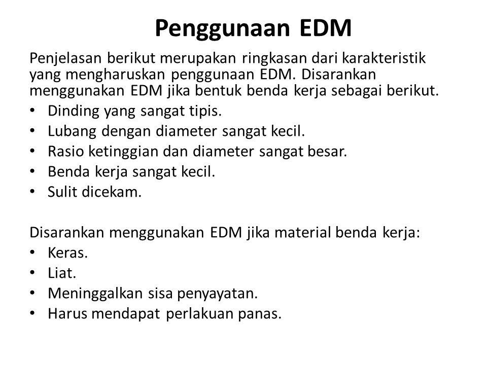 Penggunaan EDM Penjelasan berikut merupakan ringkasan dari karakteristik yang mengharuskan penggunaan EDM. Disarankan menggunakan EDM jika bentuk ben