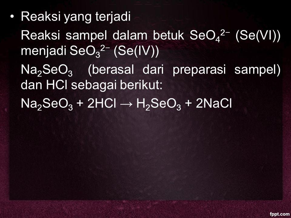 Reaksi yang terjadi Reaksi sampel dalam betuk SeO 4 2− (Se(VI)) menjadi SeO 3 2− (Se(IV)) Na 2 SeO 3 (berasal dari preparasi sampel) dan HCl sebagai b