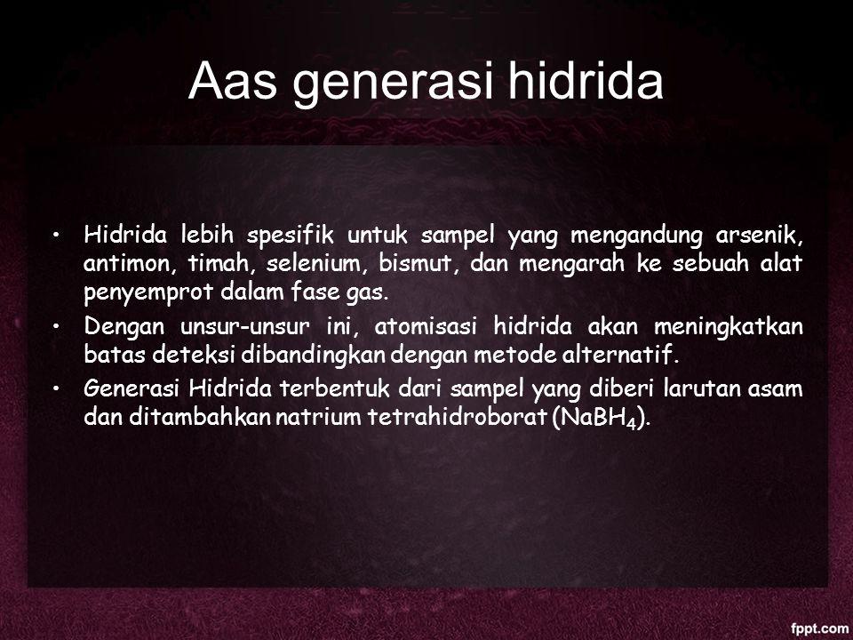 Aas generasi hidrida Hidrida lebih spesifik untuk sampel yang mengandung arsenik, antimon, timah, selenium, bismut, dan mengarah ke sebuah alat penyem