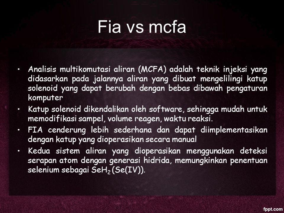 Fia vs mcfa Analisis multikomutasi aliran (MCFA) adalah teknik injeksi yang didasarkan pada jalannya aliran yang dibuat mengelilingi katup solenoid ya
