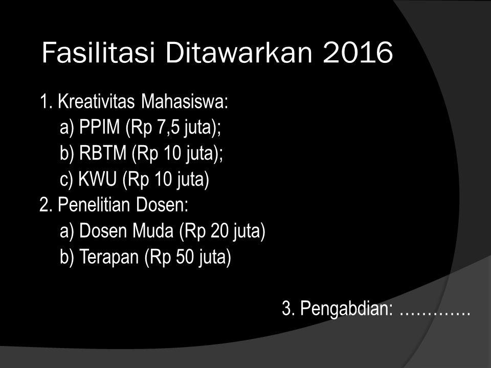 Fasilitasi Ditawarkan 2016 1. Kreativitas Mahasiswa: a) PPIM (Rp 7,5 juta); b) RBTM (Rp 10 juta); c) KWU (Rp 10 juta) 2. Penelitian Dosen: a) Dosen Mu