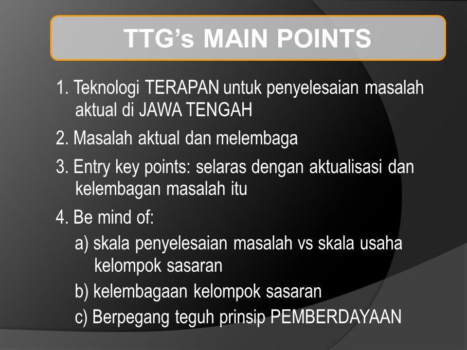 TTG's MAIN POINTS 1. Teknologi TERAPAN untuk penyelesaian masalah aktual di JAWA TENGAH 2.