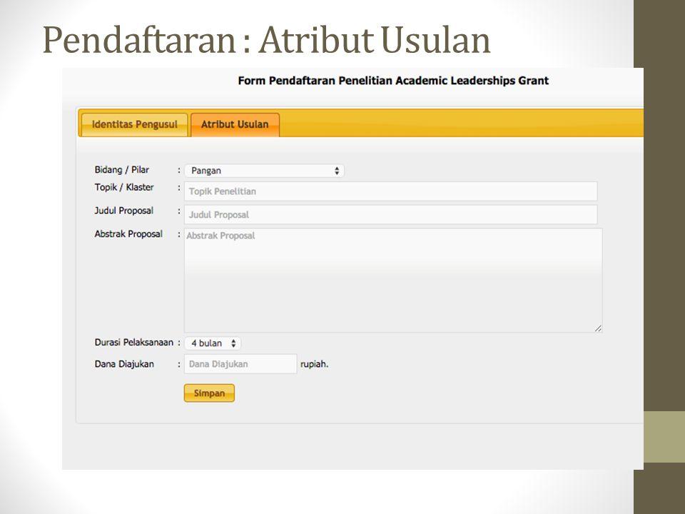 Pendaftaran : Atribut Usulan