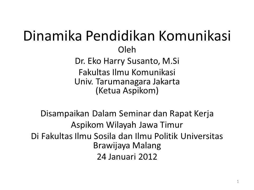 Dinamika Pendidikan Komunikasi Oleh Dr.Eko Harry Susanto, M.Si Fakultas Ilmu Komunikasi Univ.