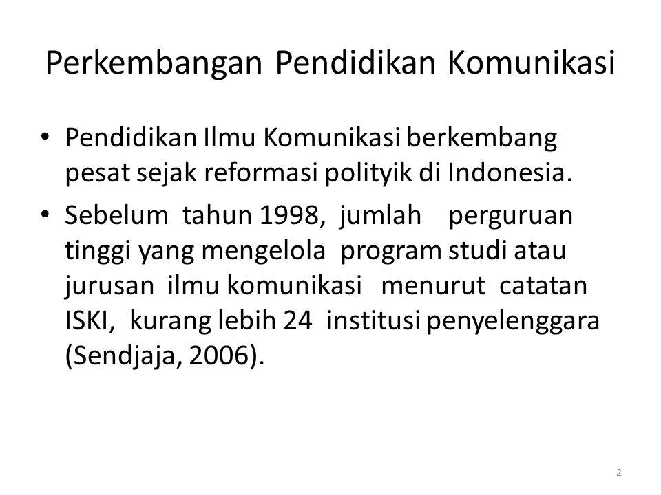 Meningkat Tajam Namun setelah terjadi perubahan politik, yang memberikan kebebasan dalam komunikasi, bidang ilmu komunikasi meningkat tajam Berdasarkan data Evaluasi Program Studi Berdasarkan Evaluasi Diri (EPSBED) November Tahun 2009, berjumlah lebih dari 199 di berbagai perguruan tinggi di Indonesia (Kuswarno, 2010) 3