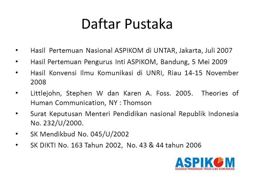 Daftar Pustaka Hasil Pertemuan Nasional ASPIKOM di UNTAR, Jakarta, Juli 2007 Hasil Pertemuan Pengurus Inti ASPIKOM, Bandung, 5 Mei 2009 Hasil Konvensi Ilmu Komunikasi di UNRI, Riau 14-15 November 2008 Littlejohn, Stephen W dan Karen A.