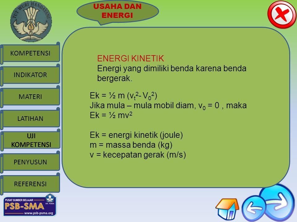 MATERI KOMPETENSI LATIHAN PENYUSUN INDIKATOR REFERENSI USAHA DAN ENERGI ENERGI KINETIK Energi yang dimiliki benda karena benda bergerak.