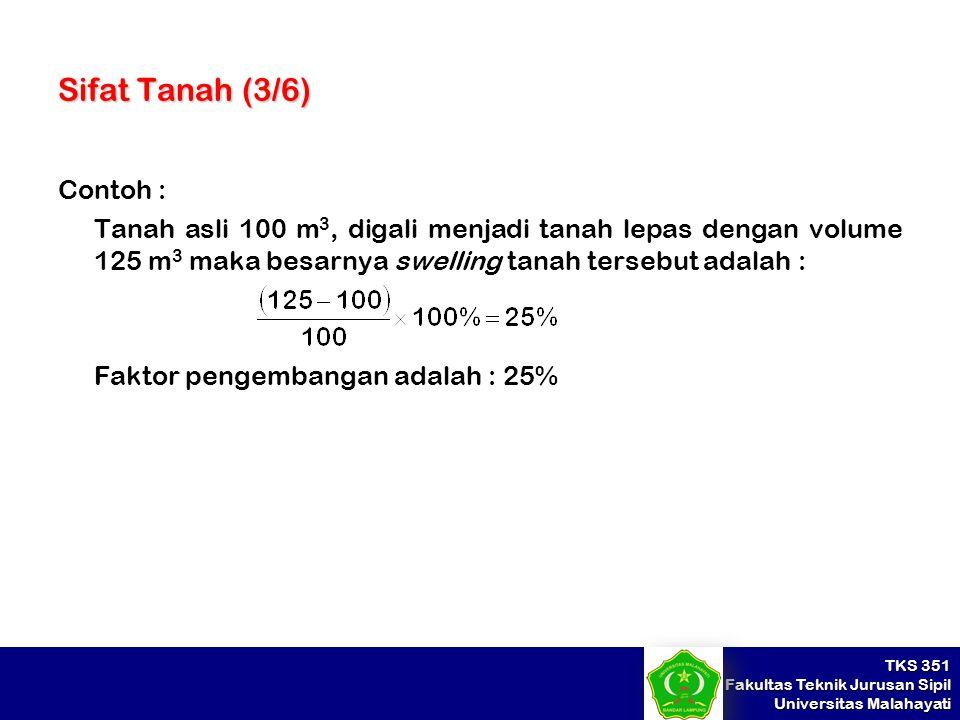 TKS 351 Fakultas Teknik Jurusan Sipil Universitas Malahayati Sifat Tanah (3/6) Contoh : Tanah asli 100 m 3, digali menjadi tanah lepas dengan volume 1