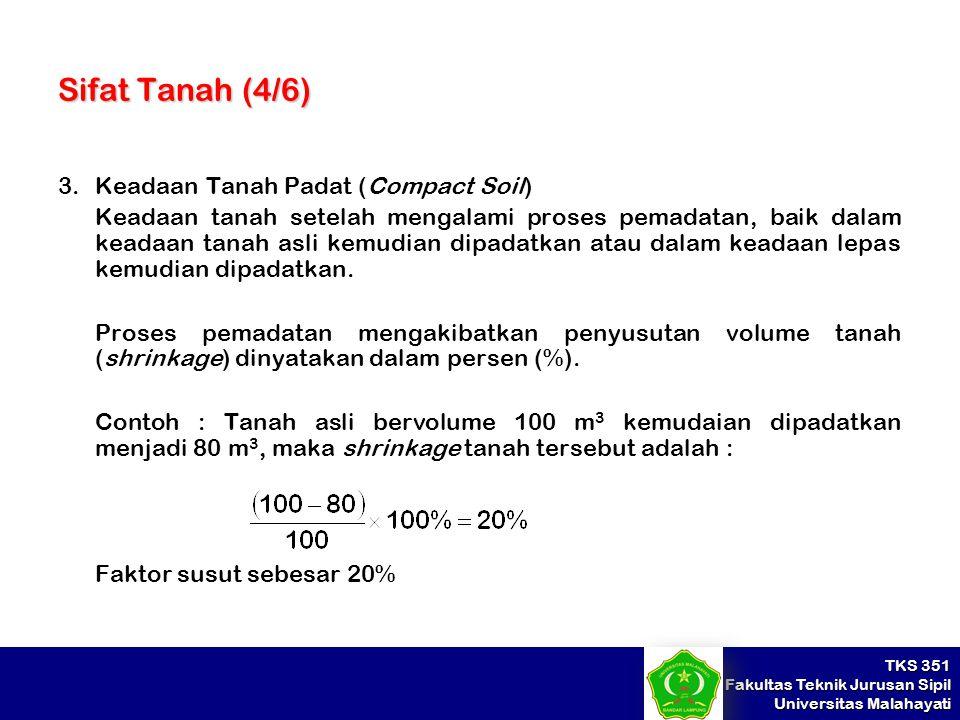 TKS 351 Fakultas Teknik Jurusan Sipil Universitas Malahayati Sifat Tanah (4/6) 3.Keadaan Tanah Padat (Compact Soil) Keadaan tanah setelah mengalami pr