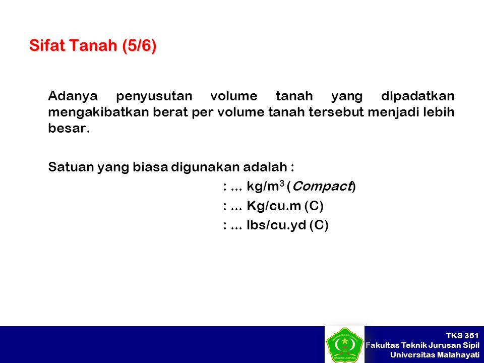 TKS 351 Fakultas Teknik Jurusan Sipil Universitas Malahayati Sifat Tanah (5/6) Adanya penyusutan volume tanah yang dipadatkan mengakibatkan berat per