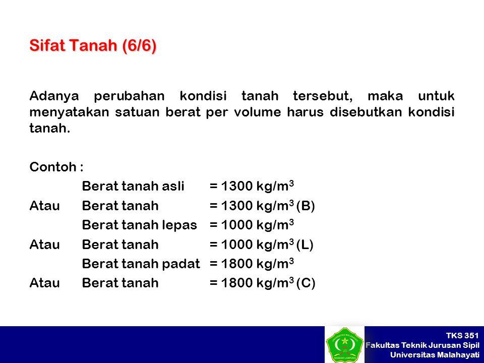 TKS 351 Fakultas Teknik Jurusan Sipil Universitas Malahayati Sifat Tanah (6/6) Adanya perubahan kondisi tanah tersebut, maka untuk menyatakan satuan b