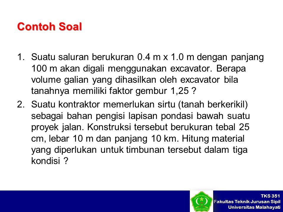TKS 351 Fakultas Teknik Jurusan Sipil Universitas Malahayati Contoh Soal 1.Suatu saluran berukuran 0.4 m x 1.0 m dengan panjang 100 m akan digali meng