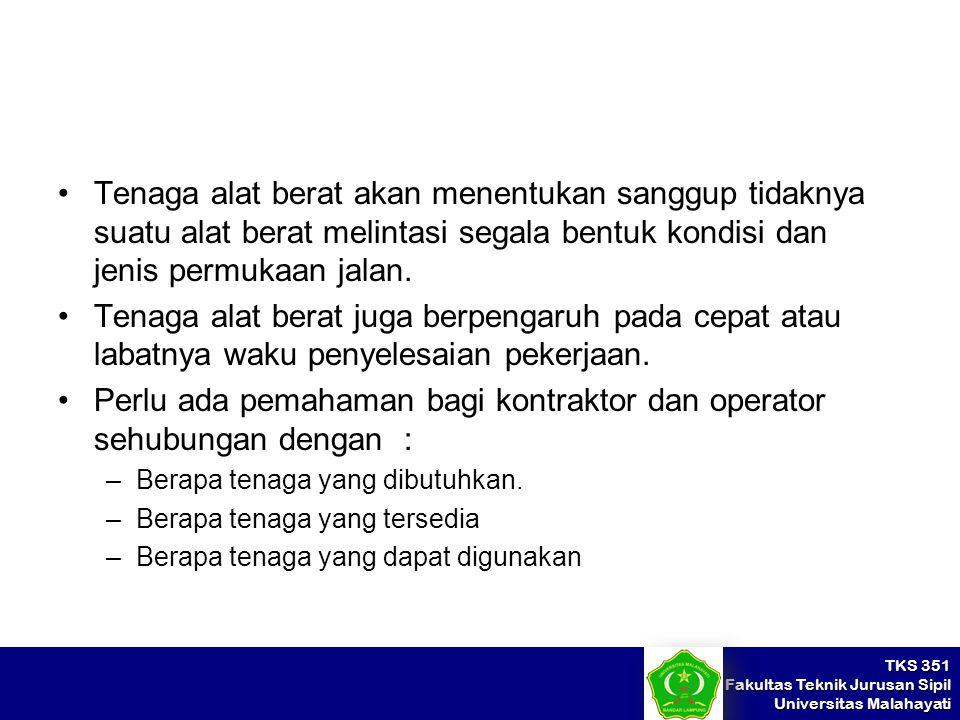 TKS 351 Fakultas Teknik Jurusan Sipil Universitas Malahayati Tenaga alat berat akan menentukan sanggup tidaknya suatu alat berat melintasi segala bent
