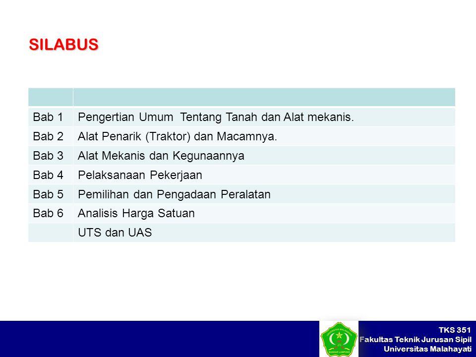 TKS 351 Fakultas Teknik Jurusan Sipil Universitas Malahayati SILABUS Bab 1Pengertian Umum Tentang Tanah dan Alat mekanis. Bab 2Alat Penarik (Traktor)