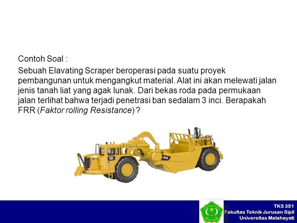 TKS 351 Fakultas Teknik Jurusan Sipil Universitas Malahayati Contoh Soal : Sebuah Elavating Scraper beroperasi pada suatu proyek pembangunan untuk men