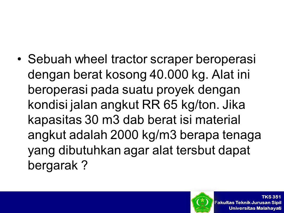 TKS 351 Fakultas Teknik Jurusan Sipil Universitas Malahayati Sebuah wheel tractor scraper beroperasi dengan berat kosong 40.000 kg. Alat ini beroperas