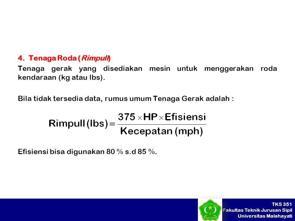 TKS 351 Fakultas Teknik Jurusan Sipil Universitas Malahayati 4. Tenaga Roda (Rimpull) Tenaga gerak yang disediakan mesin untuk menggerakan roda kendar