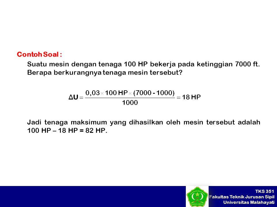 TKS 351 Fakultas Teknik Jurusan Sipil Universitas Malahayati Contoh Soal : Suatu mesin dengan tenaga 100 HP bekerja pada ketinggian 7000 ft. Berapa be