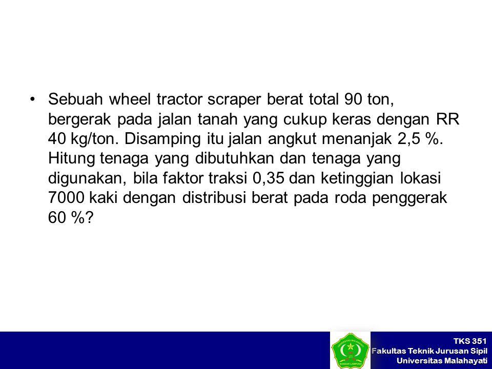TKS 351 Fakultas Teknik Jurusan Sipil Universitas Malahayati Sebuah wheel tractor scraper berat total 90 ton, bergerak pada jalan tanah yang cukup ker