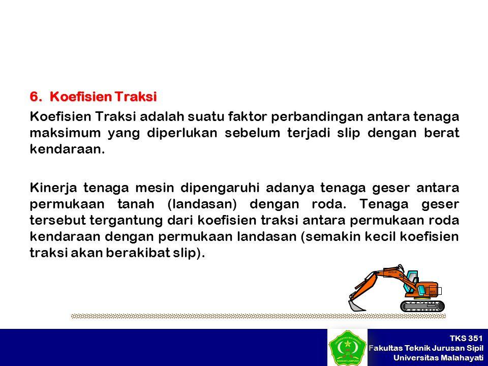 TKS 351 Fakultas Teknik Jurusan Sipil Universitas Malahayati 6. Koefisien Traksi Koefisien Traksi adalah suatu faktor perbandingan antara tenaga maksi