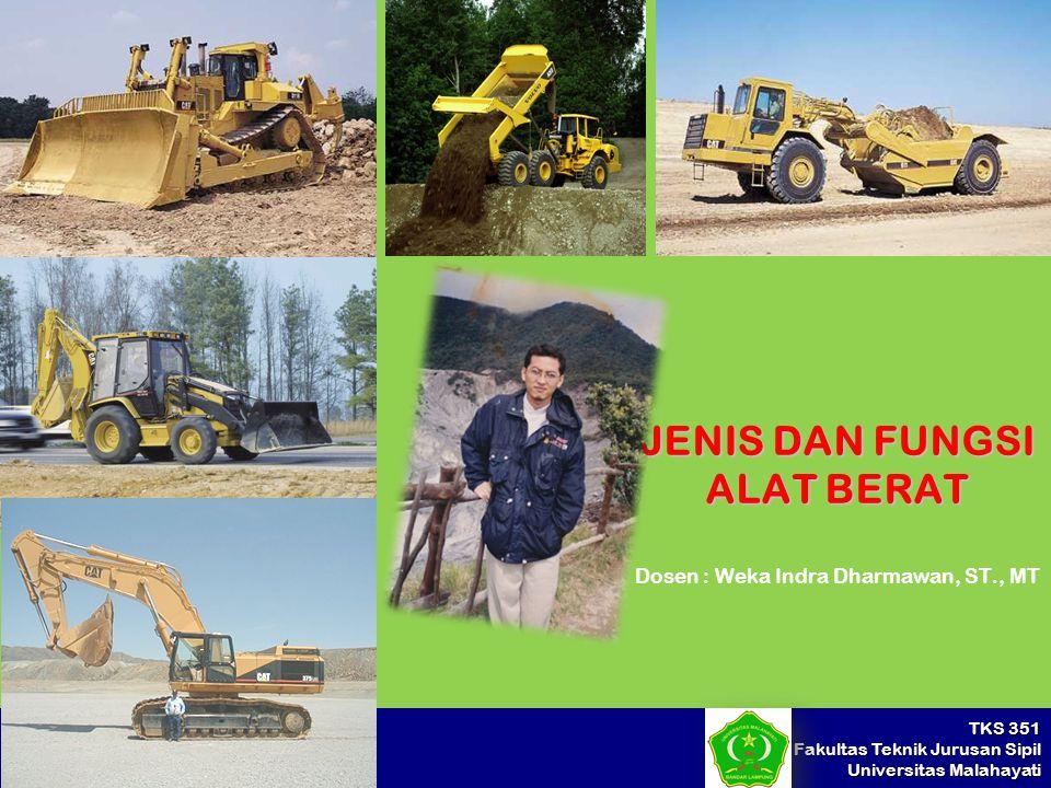 TKS 351 Fakultas Teknik Jurusan Sipil Universitas Malahayati JENIS DAN FUNGSI ALAT BERAT Dosen : Weka Indra Dharmawan, ST., MT