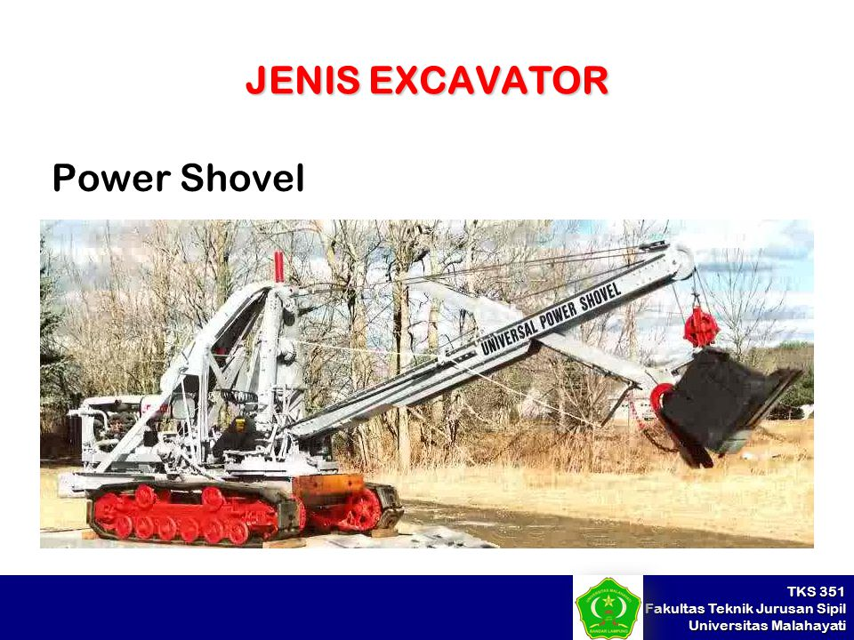TKS 351 Fakultas Teknik Jurusan Sipil Universitas Malahayati JENIS EXCAVATOR Power Shovel