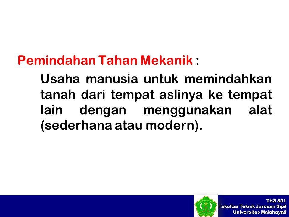 TKS 351 Fakultas Teknik Jurusan Sipil Universitas Malahayati Pemindahan Tahan Mekanik : Usaha manusia untuk memindahkan tanah dari tempat aslinya ke t