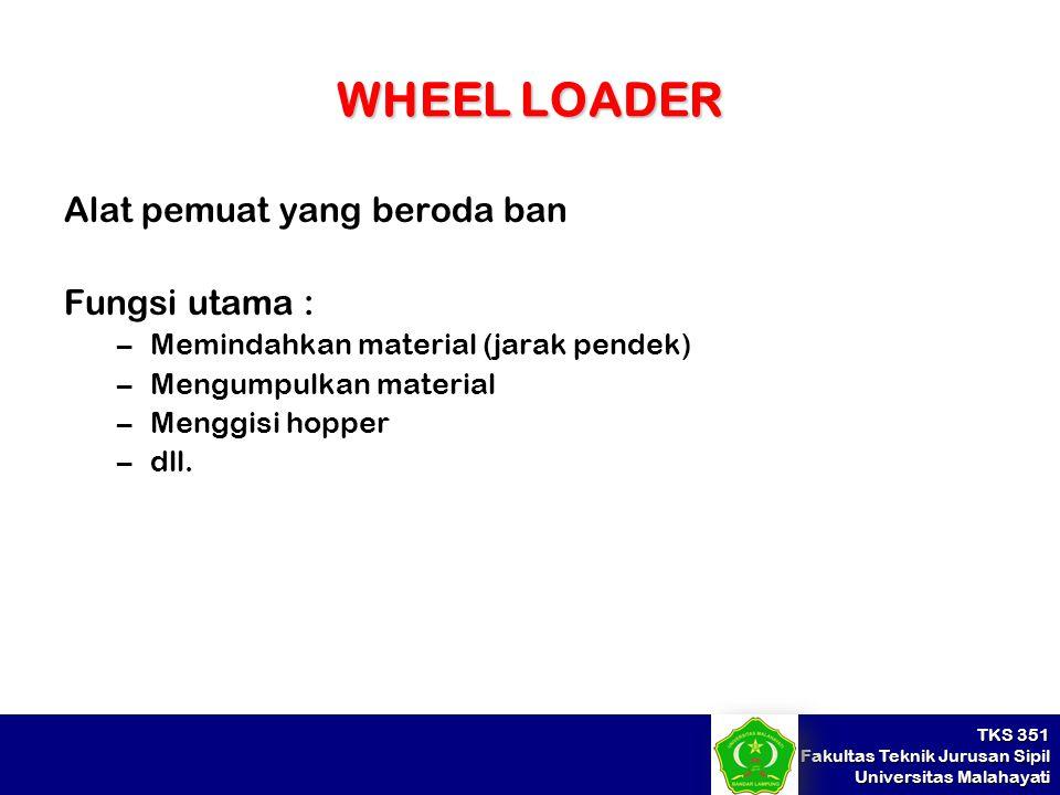 TKS 351 Fakultas Teknik Jurusan Sipil Universitas Malahayati WHEEL LOADER Alat pemuat yang beroda ban Fungsi utama : –Memindahkan material (jarak pend
