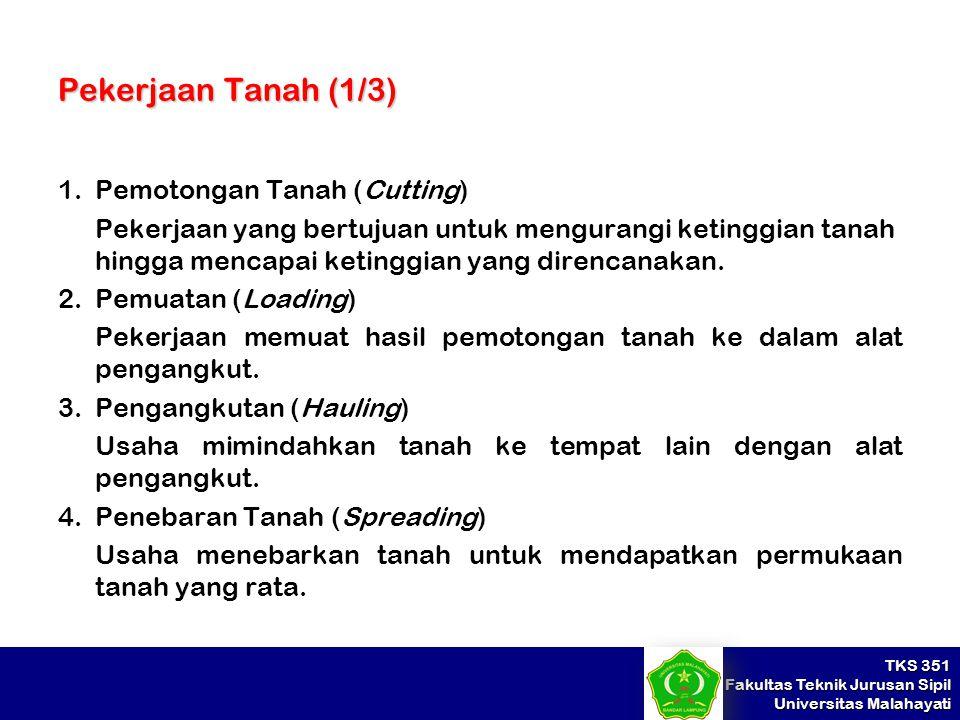 TKS 351 Fakultas Teknik Jurusan Sipil Universitas Malahayati Pekerjaan Tanah (1/3) 1.Pemotongan Tanah (Cutting) Pekerjaan yang bertujuan untuk mengura