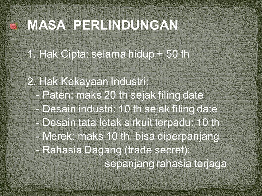REZIM HKI/LINGKUP HKI 1. Hak Cipta (UU no 19/2002) 2. Hak Kekayaan Industri, terdiri dari: - Paten (UU no 14/2001) - Desain industri / industrial desi