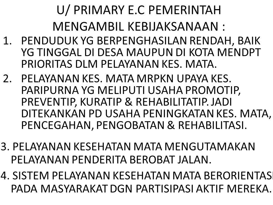 U/ PRIMARY E.C PEMERINTAH MENGAMBIL KEBIJAKSANAAN : 1.PENDUDUK YG BERPENGHASILAN RENDAH, BAIK YG TINGGAL DI DESA MAUPUN DI KOTA MENDPT PRIORITAS DLM P