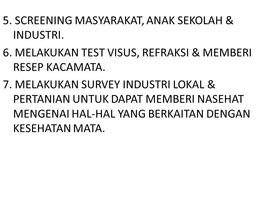 5. SCREENING MASYARAKAT, ANAK SEKOLAH & INDUSTRI. 6. MELAKUKAN TEST VISUS, REFRAKSI & MEMBERI RESEP KACAMATA. 7. MELAKUKAN SURVEY INDUSTRI LOKAL & PER
