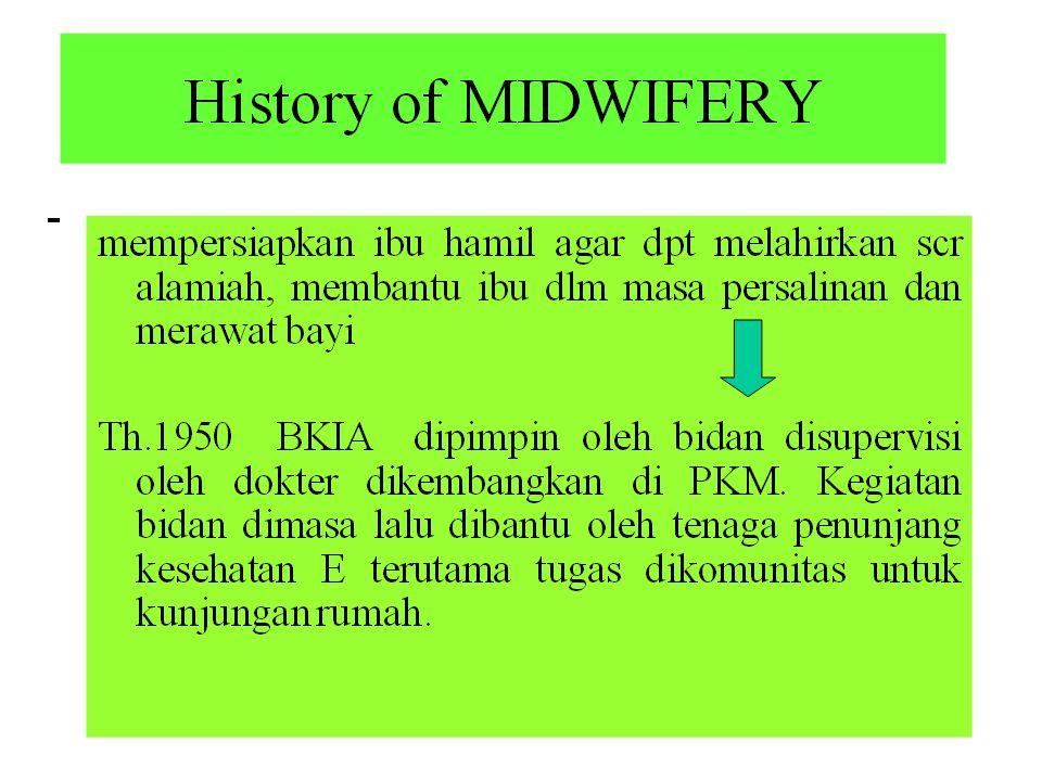 1970-1980-  masa kelam karena pendidikan khusus bidan ditiadakan sedangkan tuntutan akan penurunan AKI AKB sangat kuat.