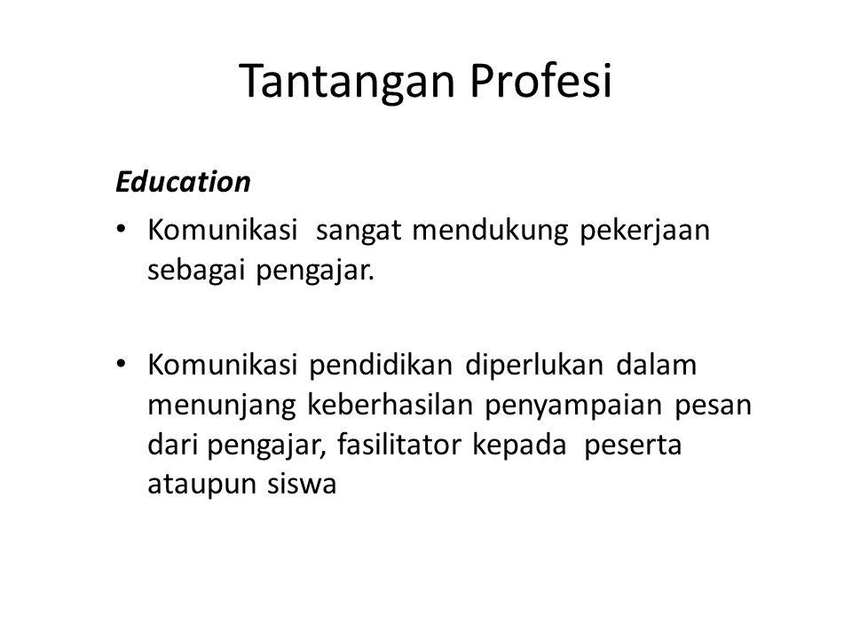 Tantangan Profesi Education Komunikasi sangat mendukung pekerjaan sebagai pengajar.
