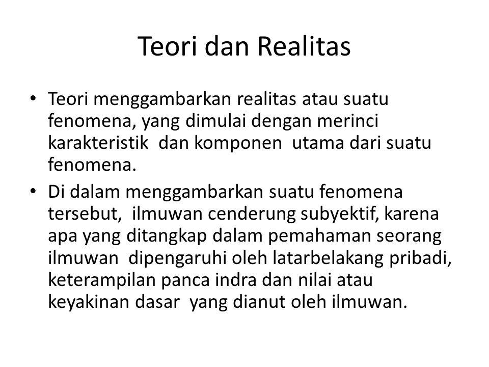 Teori dan Realitas Teori menggambarkan realitas atau suatu fenomena, yang dimulai dengan merinci karakteristik dan komponen utama dari suatu fenomena.