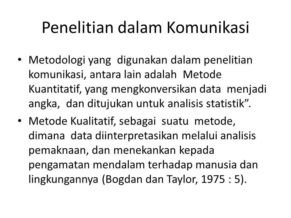 Penelitian dalam Komunikasi Metodologi yang digunakan dalam penelitian komunikasi, antara lain adalah Metode Kuantitatif, yang mengkonversikan data menjadi angka, dan ditujukan untuk analisis statistik .