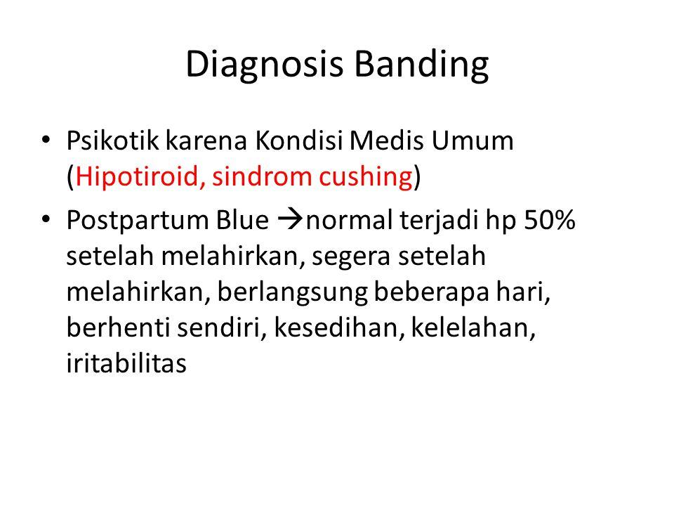 Diagnosis Banding Psikotik karena Kondisi Medis Umum (Hipotiroid, sindrom cushing) Postpartum Blue  normal terjadi hp 50% setelah melahirkan, segera